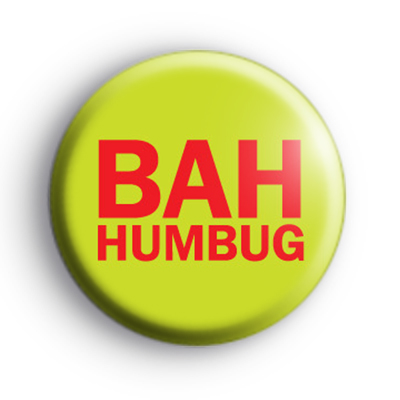 Red and Green Bah Humbug Button Badge