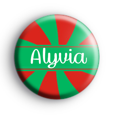 Custom Candy Cane Name Green and Red Badge