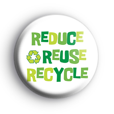 White and Green Reduce Reuse Recycle Badge