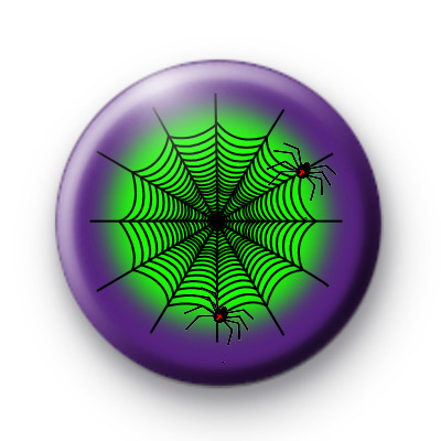 Green and Blue Creepy Spiders Web Badge
