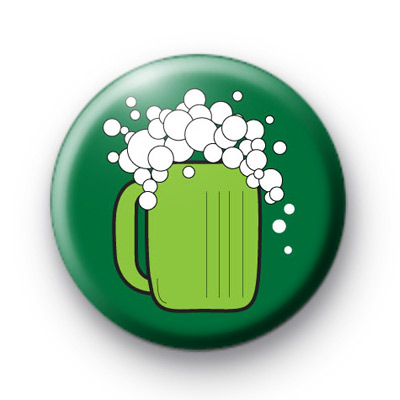 Pint of Green Beer Button Badges