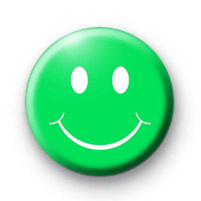 Green Smiley Face Button Badges