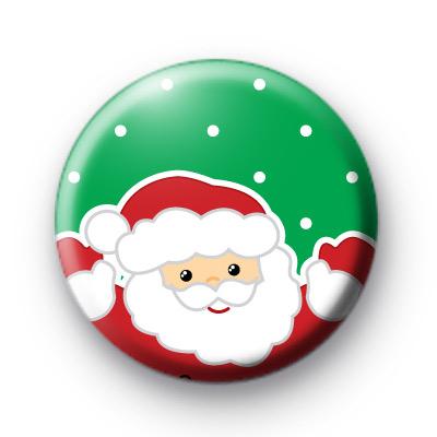 Green Smiley Santa Button Badges