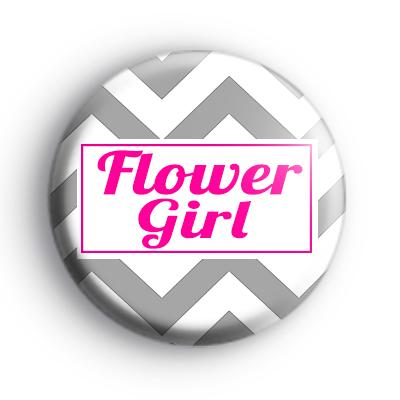 Grey and Pink Chevron Flower Girl Badge