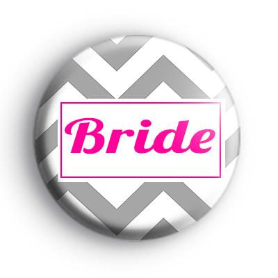 Grey and Pink Chevron Bride Badge