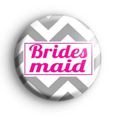Grey and Pink Chevron Bridesmaid Badge