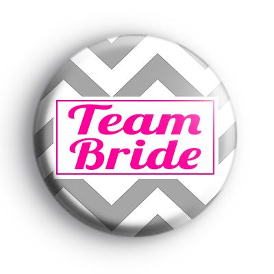 Grey and Pink Chevron Team Bride Badge