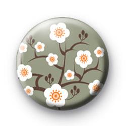 Grey Oriental Flower Blossom Badges