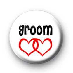 Red Love Hearts Groom Badge