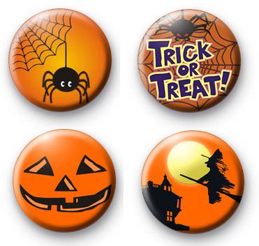 Set of 4 Orange Halloween Badges