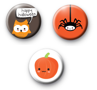Fun Halloween Set of 3 badges