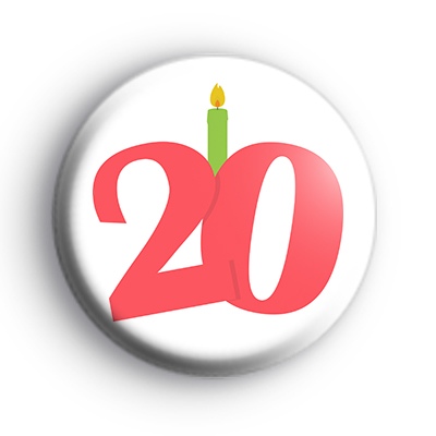 Candle 20th Birthday Badge