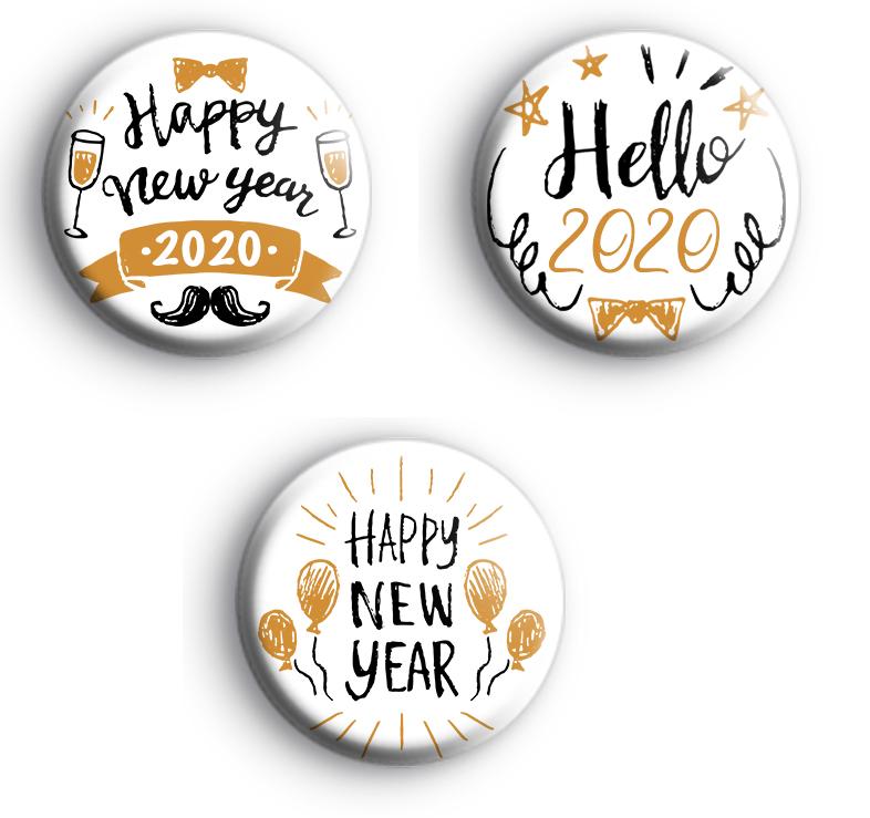 Set of 3 Happy New Year 2020 Badges