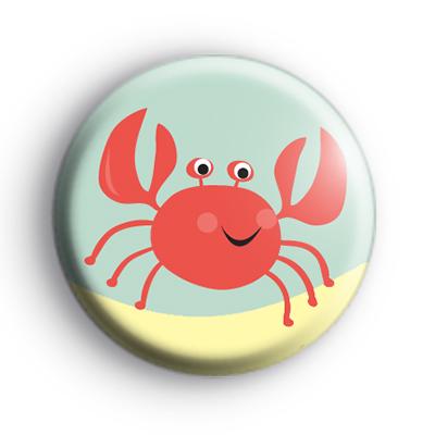 Pink Seaside Crab Badge