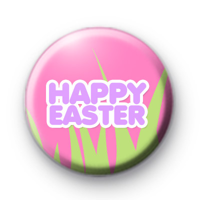 Happy Easter Pink Button Badges