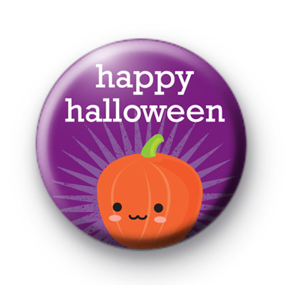 Purple Happy Halloween Pumpkin Badge