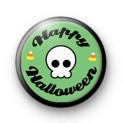 Skull Spooky Happy Halloween badge