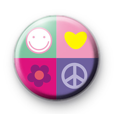 Happiness peace and love badge