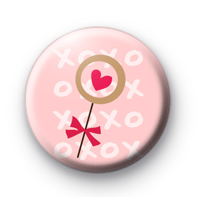 Heart Lolly Pop Button Badges