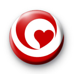 Red Hearts Love Badge