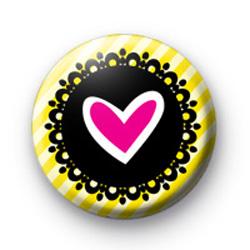 Heart Yellow Stripes Badge