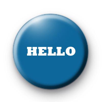 Hello Blue Button Badge