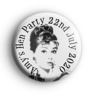 Audrey Hepburn Breakfast at Tiffany's Hen Party Badge