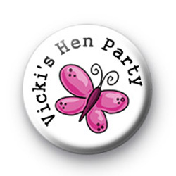 Custom Butterfly Hen Party Badges