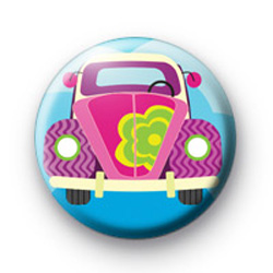 Hippie VW Beetle Car Badge