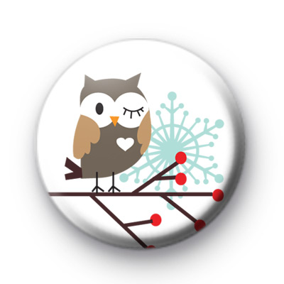 Cute Owl Festive Button Badges