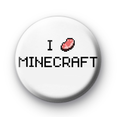 I Love Minecraft 8 bit pixel badge