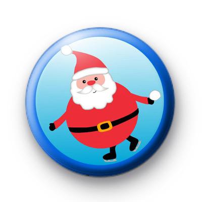 Ice Skating Santa Claus Badge