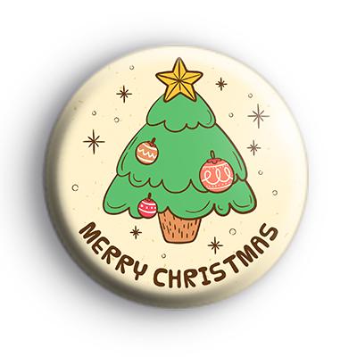 Illustrated Merry Christmas Tree Badge