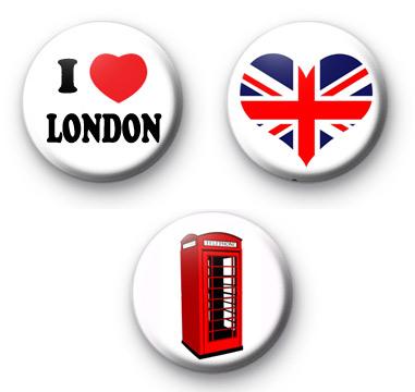Set of 3 London Button Badges