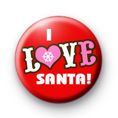 I Love Santa Snowflake Heart Badge