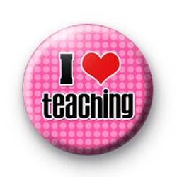 Pink I Love Teaching Badges