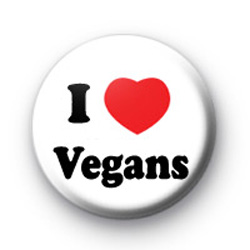 I Love Vegans Button Badge