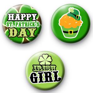 Set of 3 Fun St Patrick's Day Badges