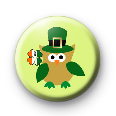 Cute Lucky Irish Owl Badges