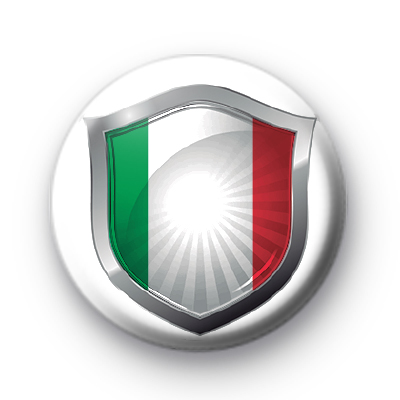 Italian Flag Crest Button Badge