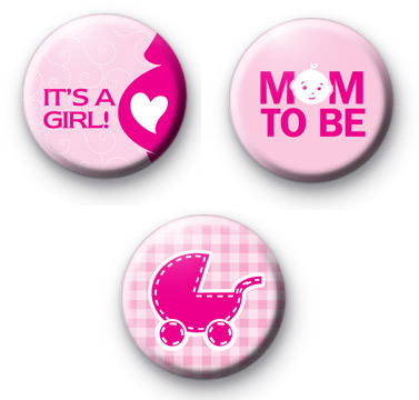 Set of 3 Its a GIRL Button Badges