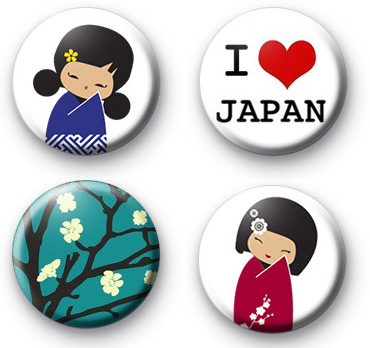Set of 4 Japan Button Badge Pack