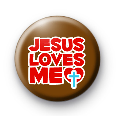 Brown and Red Jesus Loves Me badge