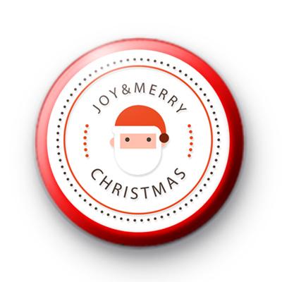 Santa Joy and Merry Christmas Button Badge