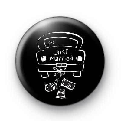 Just Married Car Button Badge