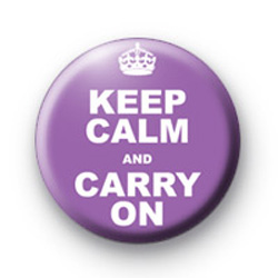 Keep Calm and carry on badge purple