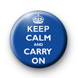 Keep Calm and Carry on badge Royal Blue
