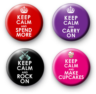 Set of 4 Keep Calm Themed Badges