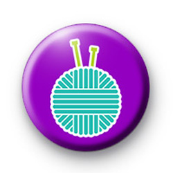 Knitting Needles and Yarn Badge
