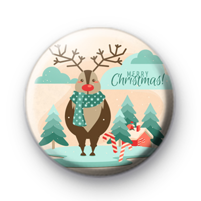 Reindeer in Lapland Button Badge